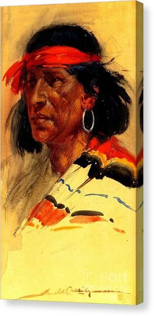 Taos Pueblo Indian Circa 1918 Canvas Print