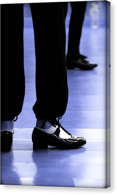 Tap Dance Canvas Print - Tap Dance In Blue Are Shoes Tapping In A Dance Academy by Pedro Cardona Llambias