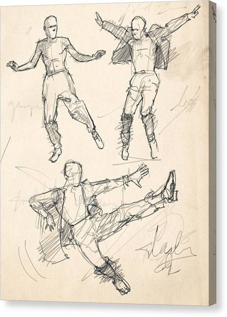 Tap Dance Canvas Print - Tap Studies by H James Hoff