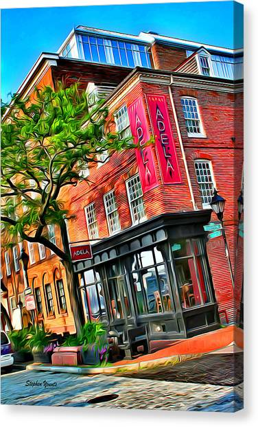 Fells Point Baltimore Maryland Canvas Print - Tapas Adela by Stephen Younts