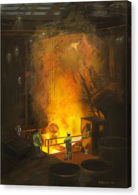 Factory Canvas Print - Tapping The First Heat by Martha Ressler