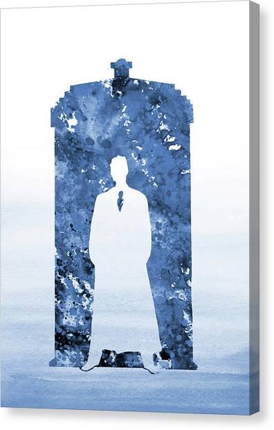 Tardis Canvas Print - Tardis, Tenth Doctor-blue by Erzebet S