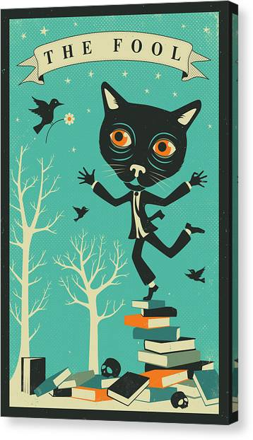 Carts Canvas Print - Tarot Card Cat The Fool by Jazzberry Blue