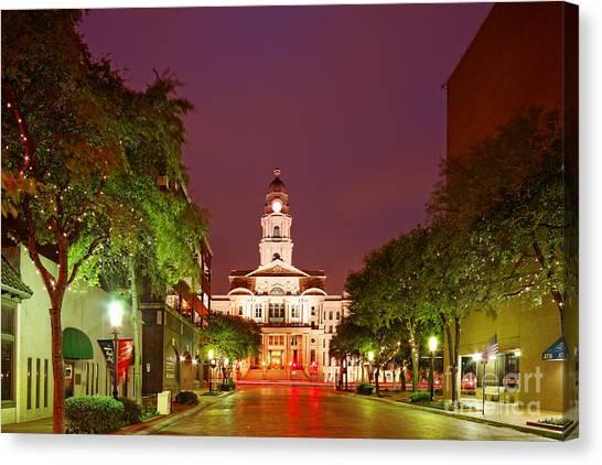 Texas Rangers Canvas Print - Tarrant County Courthouse At Twilight - Fort Worth North Texas by Silvio Ligutti