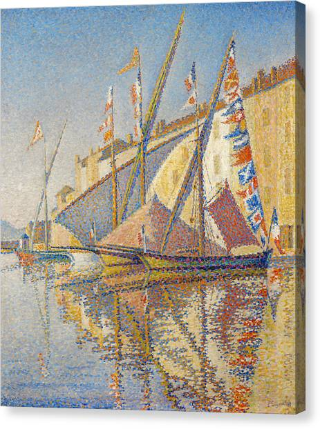 Post-impressionism Canvas Print - Tartans With Flags by Paul Signac