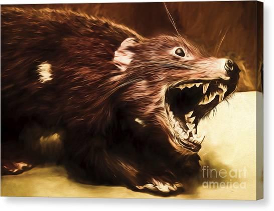 Scavenger Canvas Print - Tasmanian Devil Digital Painting by Jorgo Photography - Wall Art Gallery