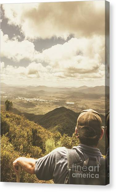 Backpacks Canvas Print - Tasmanian Hiking View by Jorgo Photography - Wall Art Gallery