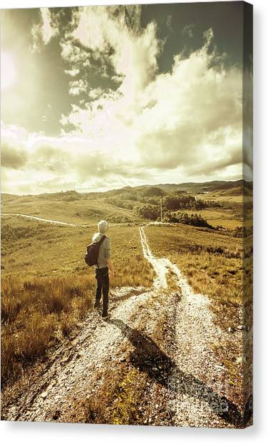 Dirt Road Canvas Print - Tasmanian Man On Road In Nature Reserve by Jorgo Photography - Wall Art Gallery