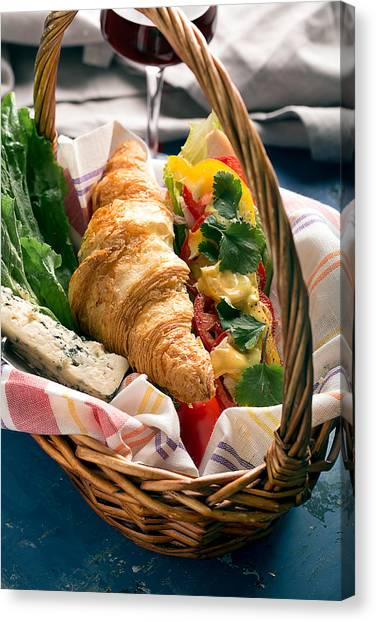 Mayonnaise Canvas Print - Tasty Sandwich With Chicken  by Vadim Goodwill