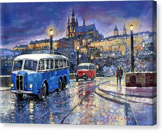 Automotive Art Canvas Print - Tatra 85-91bus 1938 Praha Rnd Bus 1950 Prague Manesuv Bridge by Yuriy Shevchuk