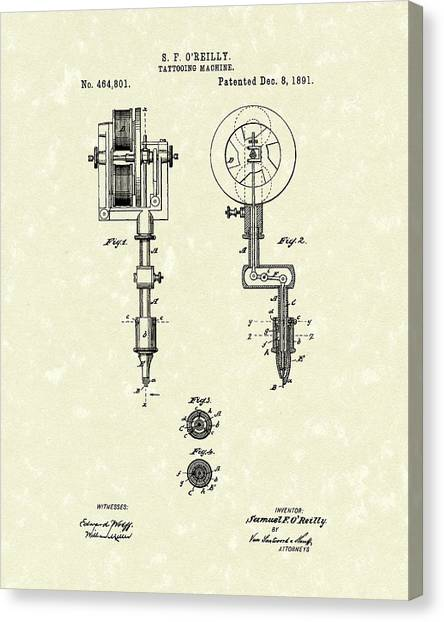 Tattoo Machine 1891 Patent Art Canvas Print