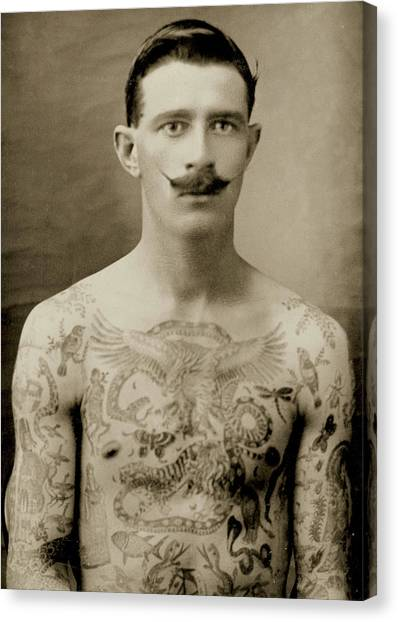 Gent Canvas Print - Tattooed British Sailor During The First World War by English School