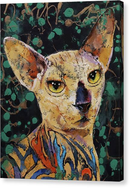 Sphynx Cats Canvas Print - Tattooed Sphynx by Michael Creese