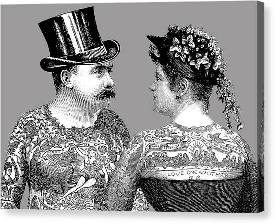 Wedding Gift Canvas Print - Tattooed Victorian Lovers by Eclectic at HeART