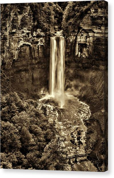 Cornell University Canvas Print - Taughannock Falls - Sepia by Stephen Stookey