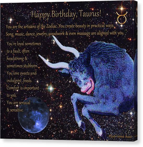 Taurus Birthday Zodiac Astrology Canvas Print