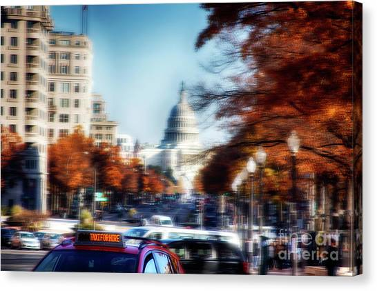 Taxi For Hire  Canvas Print by Steven Digman