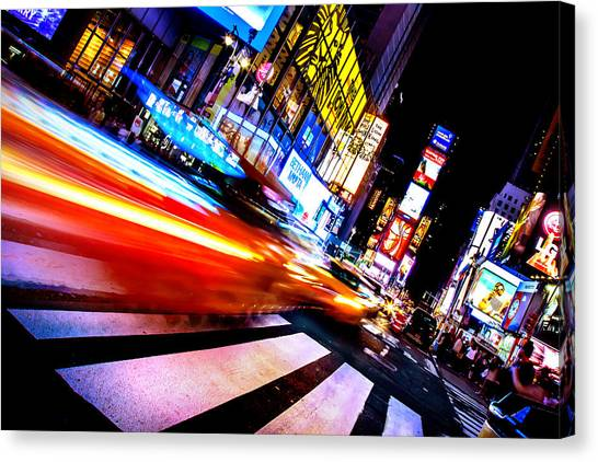 Times Square Canvas Print - Taxis In Times Square by Az Jackson