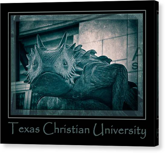 Texas Christian University Canvas Print - Tcu Horned Frog Poster Cobalt by Joan Carroll