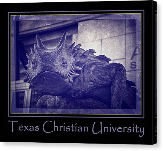 Texas Christian University Canvas Print - Tcu Horned Frog Poster Purple by Joan Carroll
