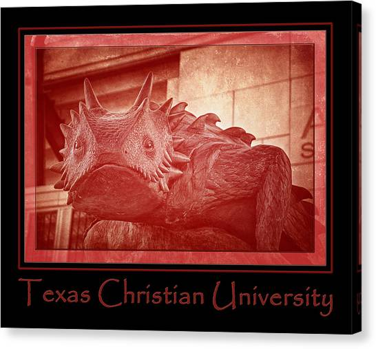 Texas Christian University Canvas Print - Tcu Horned Frog Poster Red by Joan Carroll