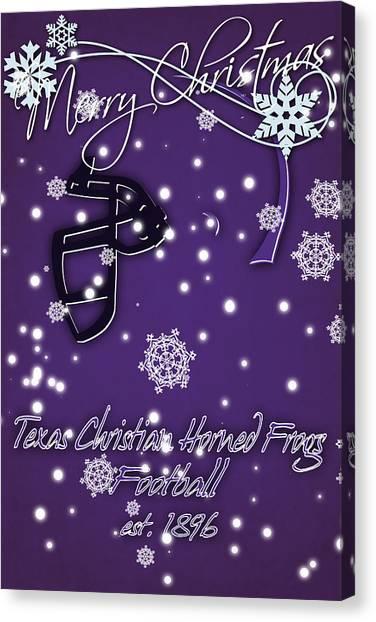 Texas State University Texas State Canvas Print - Tcu Horned Frogs Christmas Card by Joe Hamilton