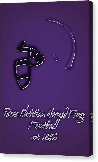 Texas Christian University Canvas Print - Tcu Horned Frogs Helmet by Joe Hamilton