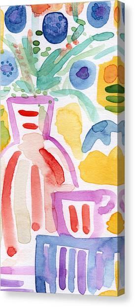 Tea Set Canvas Print - Tea And Flowers 2- Art By Linda Woods by Linda Woods