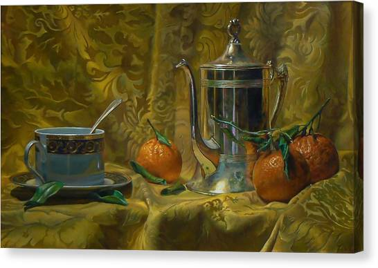 Tea And Oranges Canvas Print by Jeffrey Hayes