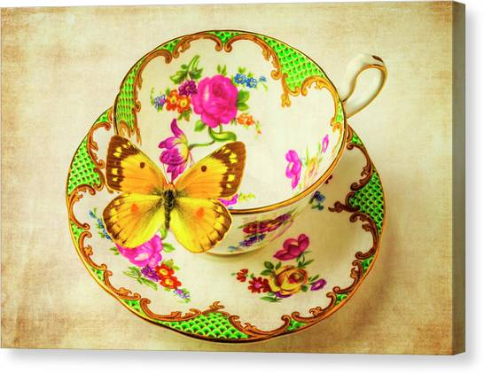 Tea Time Canvas Print - Tea Cup And Butterfly by Garry Gay