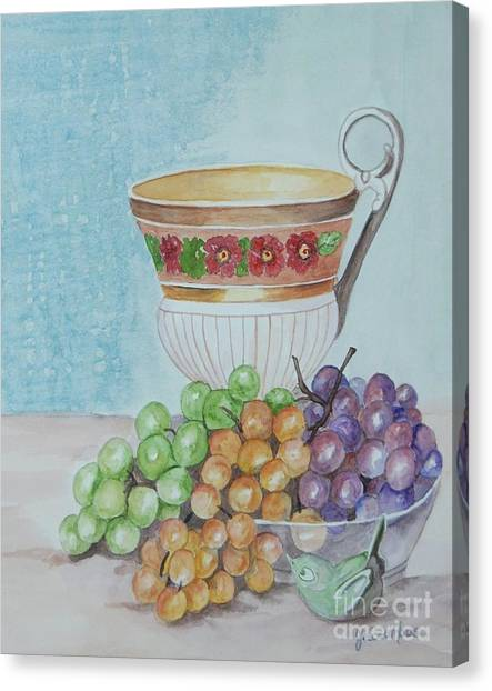 Tea Cup And Grapes Canvas Print by Janna Columbus