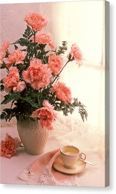 Tea Leaves Canvas Print - Tea Cup With Pink Carnations by Garry Gay