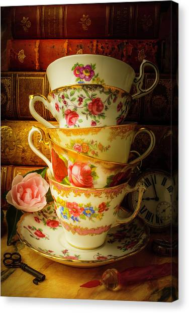 Tea Time Canvas Print - Tea Cups And Antique Books by Garry Gay