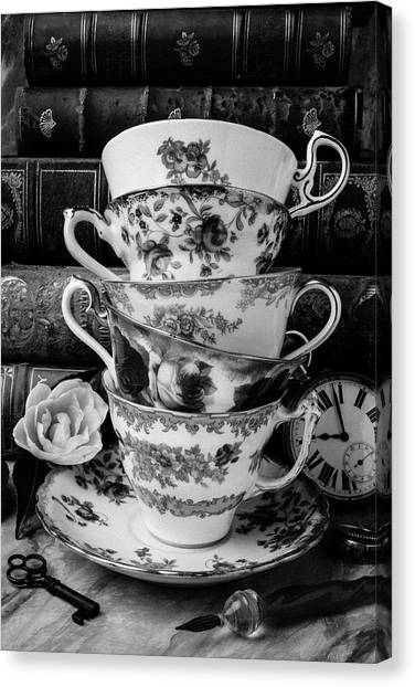 Tea Time Canvas Print - Tea Cups In Black And White by Garry Gay