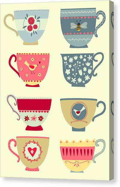 Tea Canvas Print - Tea Cups by Nic Squirrell