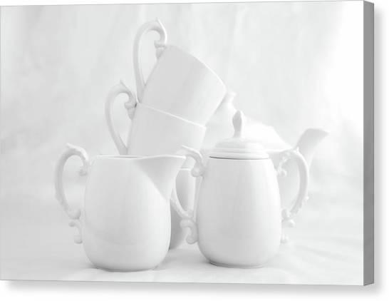 Tea Pot Canvas Print - Tea For Three In White by Tom Mc Nemar