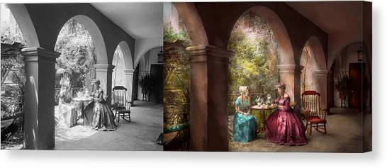Tea Set Canvas Print - Tea Party - Sharing Tea With Grandma 1936 - Side By Side by Mike Savad