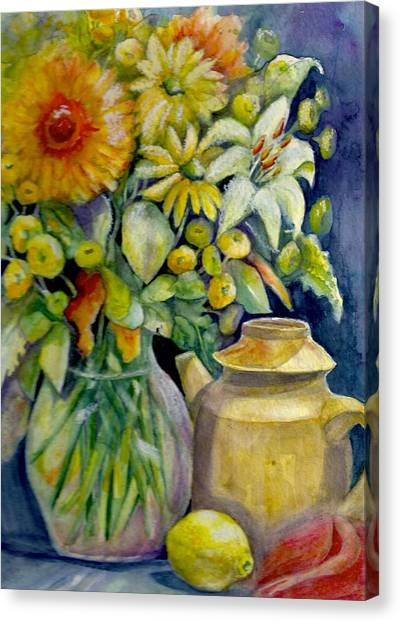 Tea Pot And Flowers Canvas Print by KC Winters