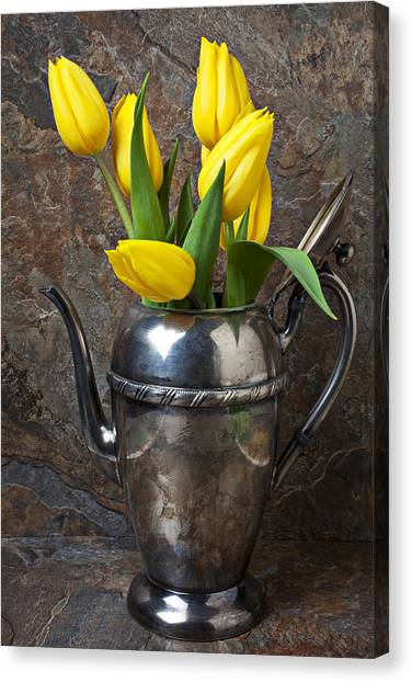 Tea Leaves Canvas Print - Tea Pot And Tulips by Garry Gay