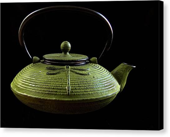 Metal Dragonfly Canvas Print - Tea Pot by Jean Noren