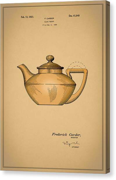 Coffee Plant Canvas Print - Tea Pot Patent 1923 by Mark Rogan