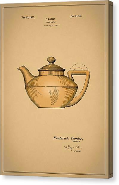 Tea Pot Canvas Print - Tea Pot Patent 1923 by Mark Rogan