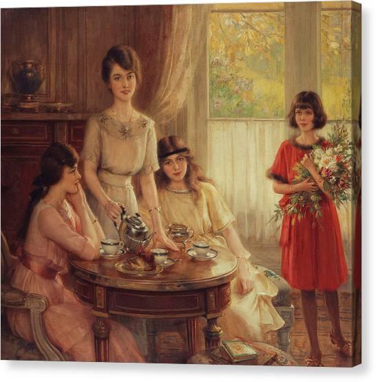 Victorian Garden Canvas Print - Tea Time by Albert Lynch