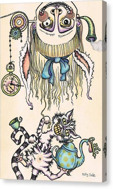 Cheshire Canvas Print - Tea Time by Kelly Jade King