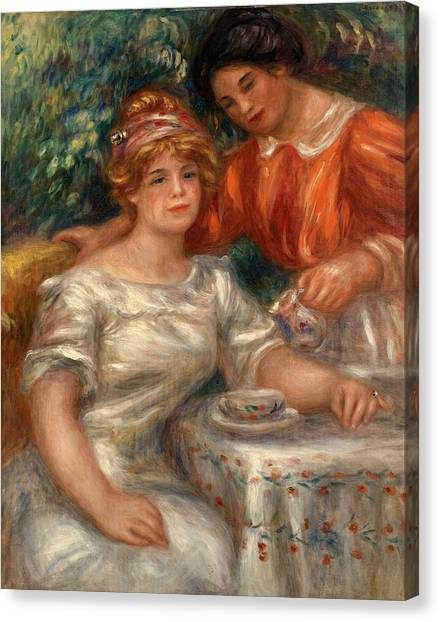 Tea Time Canvas Print - Tea Time by Pierre-Auguste Renoir