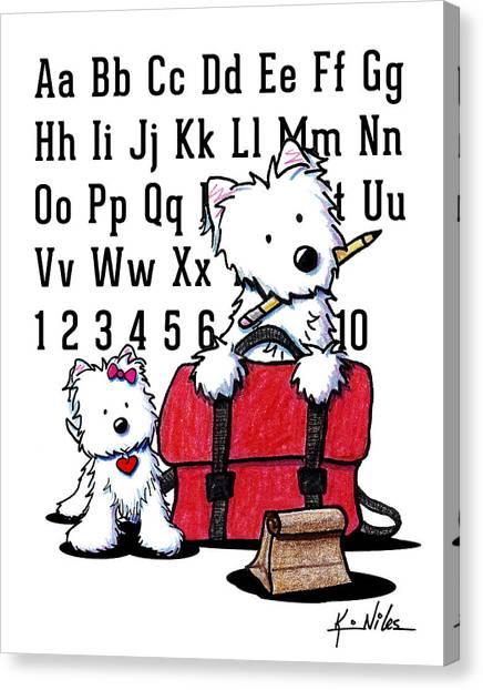 Teacher's Pet Westies Canvas Print by Kim Niles