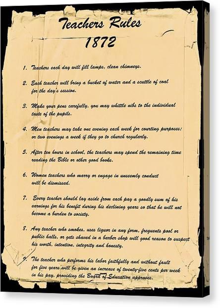 Teachers Rules 1872 Canvas Print