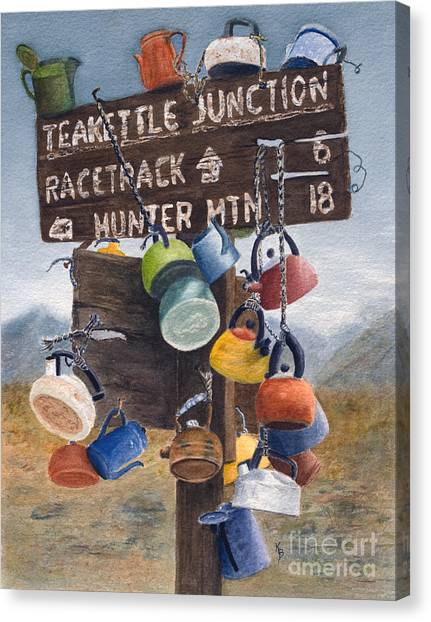 Teakettles Canvas Print - Teakettle Junction by Karen Fleschler