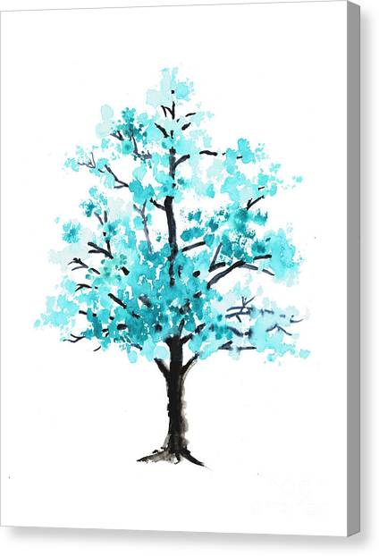 Trees Canvas Print - Teal Cherry Blossom Tree Watercolor Art Print by Joanna Szmerdt
