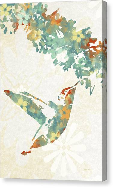 Floral Hummingbird Art Canvas Print